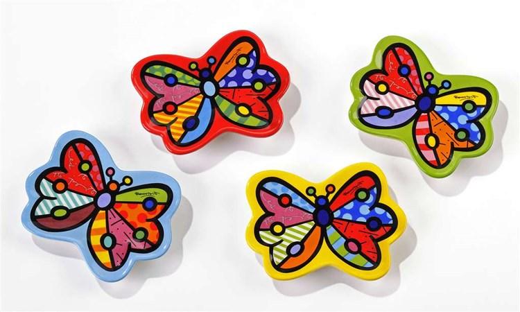 Romero Britto Tea Bag Holders, Butterfly, 4 Asst.