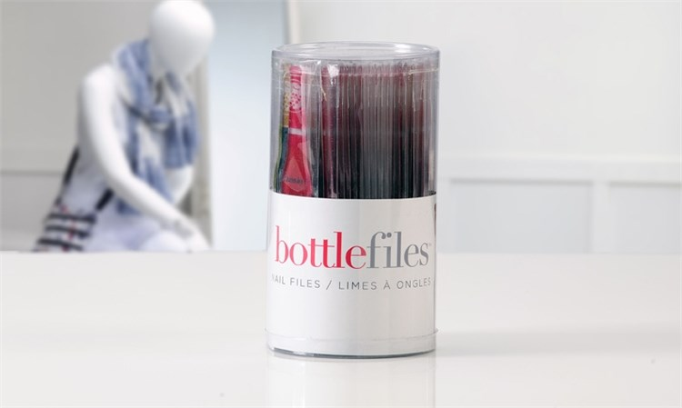 Wine Bottle Design Glass Nail File Asst. w/ Tub Displayer