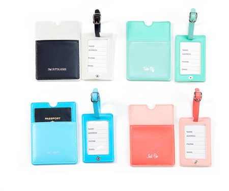 Passport Cover and Luggage Tag Set, 4 Asst.