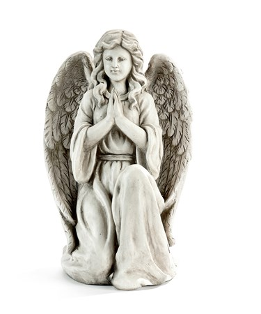 Kneeling Grey Angel Statue