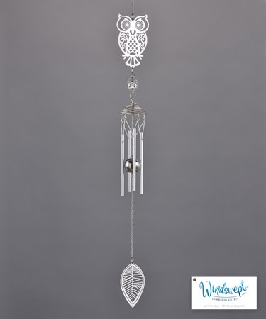 Owl and Leaf Windchime