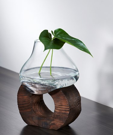 Earth Artisan Glass Vase w/Wood Stand