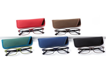 Rectangular Readers w/Pouch, 5 Asst. w/Displayer