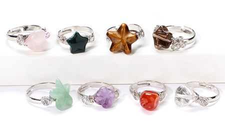 Gemstone Rings, 8 Asst. w/Displayer