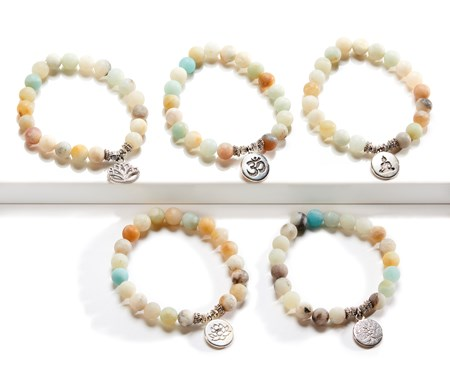 Healing Amazonite Bracelets, 5 Asst. w/Displayer