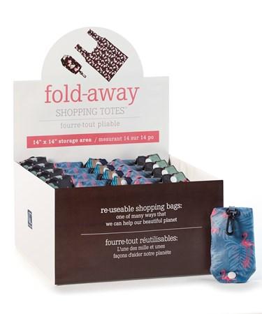 Folding Shopping Bags, 3 Asst. w/Displayer