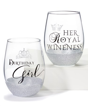 Stemless Wine Glass, 2 Asst.