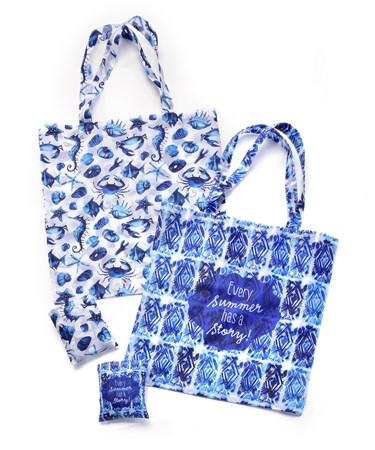 Foldable Shopping Bag, 2 Asst. w/Displayer