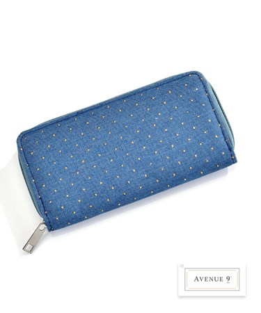 Denim Wallet w/Dots