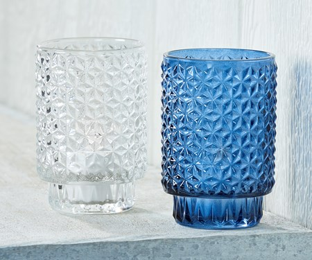 Large Glass Candle Holder,  2 Asst.