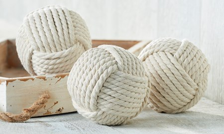 White Rope Orbs, Set of 3