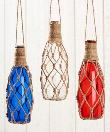 Hanging Glass Bottle w/Rope, 3 Asst.