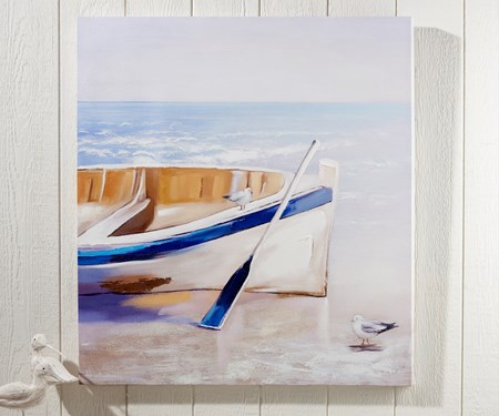 Seaside Row Boat Painting