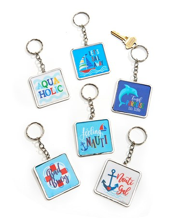 Square Keychain, 6 Asst. w/Displayer