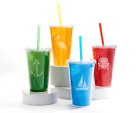 Double Wall Tumbler w/Straw, 4 Asst.
