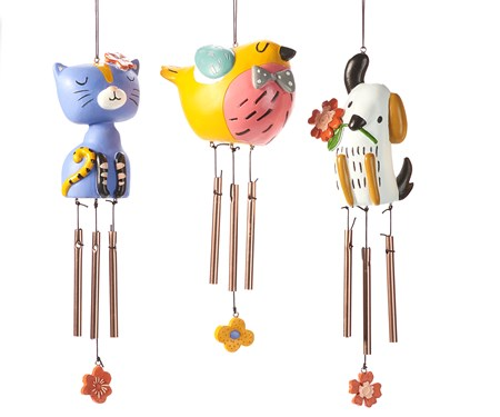 Animal Wind Chimes, 6 Asst.